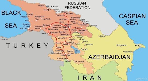 mapa Georgia Armenia